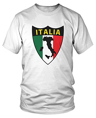 (Amdesco Men's Italia Flag Shield, Love Home Italy, Italian T-Shirt, White Medium)