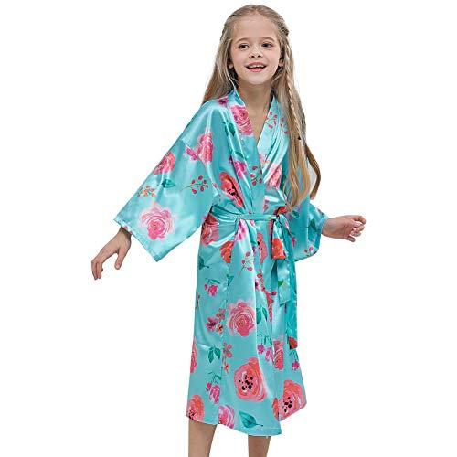 Beinou Satin Kimono Robe Aqua Flower Toddler Soft Bathrobe Girls Sleepwear Party -