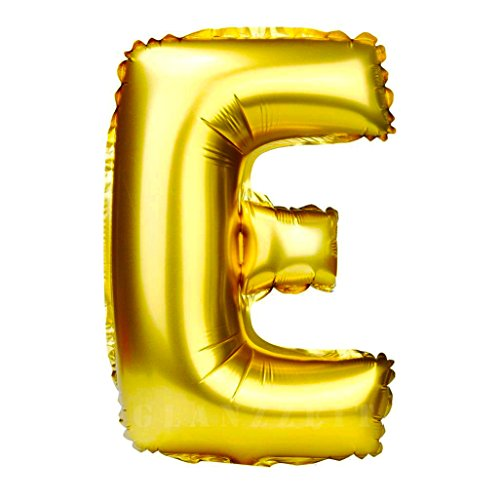 Glanzzeit 32 Inch Gold Foil Balloons Letter A to Z Number 0 to 9 Party Wedding Birthday Decoration (Letter E) ()