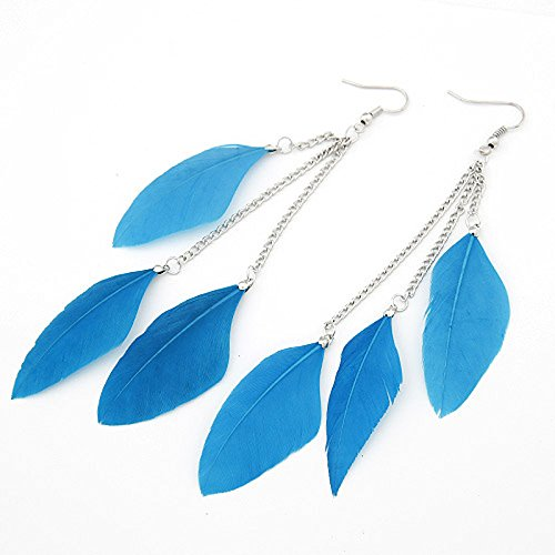Leiothrix Nutural Feather Alloy Earrings in Blue for Women and Girls Apply to Wedding Party Casual