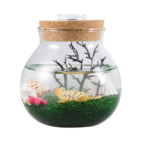 Eco Serveware - Balacoo Mini Aquarium Bottle Fish Tank Creative Micro Landscape Eco LED Night Color Lights Table Decor Gifts Turtle S