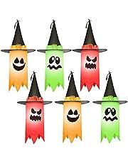 JOYIN Paquete de 6 fantasmas colgantes de 24 pulgadas para Halloween, decoración de fantasmas colgantes de Halloween con sombrero de bruja negro para árboles de Halloween, patio, dormitorio, decoración de la casa