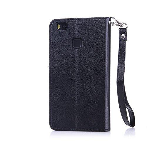 SRY-Conjuntos de teléfonos móviles de Huawei Carcasa Huawei P9 LITE con correa de cordón Correa de la tarjeta tragamonedas, caja de la cartera de cuero de la PU Premium Carcasa de la mariposa en relie Black
