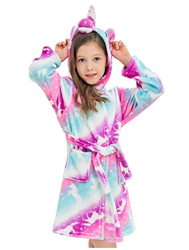 Soft Unicorn Hooded Bathrobe Sleepwear - Unicorn Gifts for Girls (8-9 Years, Pink Galaxy Unicorns)