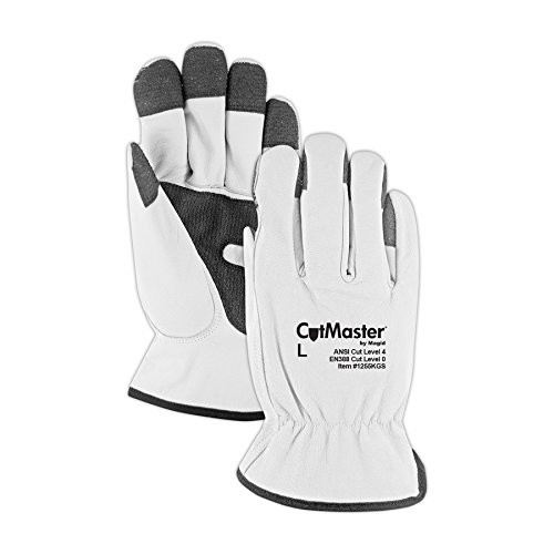 Magid Glove & Safety 1255KGS-L CutMaster Lined Leather Driver Glove with Keprotec Grip Strips Cut Level 4 by Magid Glove & Safety