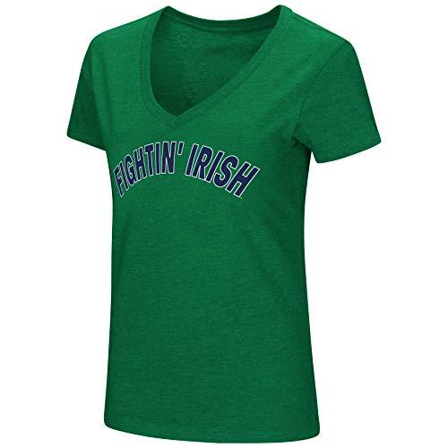 (Colosseum Womens NCAA-Valuable Commodity-Dual Blend Short Sleeve T-Shirt-Notre Dame Fighting Irish-Kelly Green-Medium)