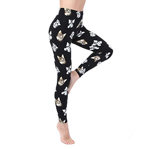 Leggings for Women and Girls-High Waisted Soft Printed Pants- One/Plus Size 20+ Design (Cat, Plus Size (US 12-24))