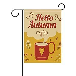 U LIFE decorativo Hello Bienvenido Otoño bandera Banner para fuera de casa patio jardín maceta de doble cara impresión 40x 28cartucho 12x 18pulgadas amarillo