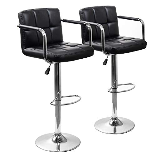 Display4top Breakfast Swivel stools, Square Swivel Adjustable Height Bar Stools with Backs and Arms,Set of 2,Modern PU Leather Chairs (Black)
