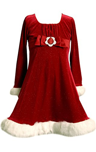 Bonnie Jean Little Girls' Sparkle Faux FurStretch Santa Dress (2T, Red/White)