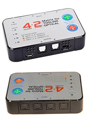 4 input x 2 output Digital Optical TOSlink Audio Selector True Matrix Switch Switcher Splitter ()