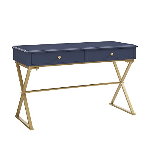Blue Desk Leg - Linon AMZN0211 Campaign Desk Navy with Gold Legs, Blue