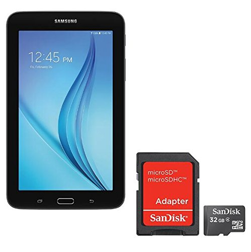 Samsung Newest Galaxy Tab E Lite Flagship 7 inch Tablet | Spreadtrum T-Shark Quad-Core | 1GB RAM | 8GB | GPS Enabled | MicroSD Slot | Android 4.4 KitKat OS | Include SanDisk 32GB Memory Flash card