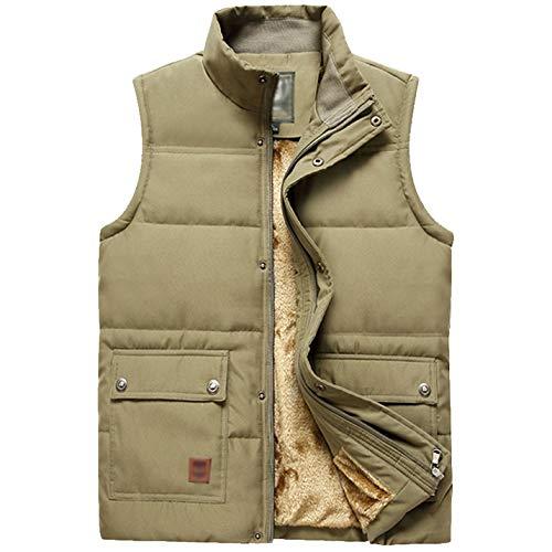 Flygo Men's Winter Warm Outdoor Padded Puffer Vest Thick Fleece Lined Sleeveless Jacket (Style 02 Khaki, X-Large)