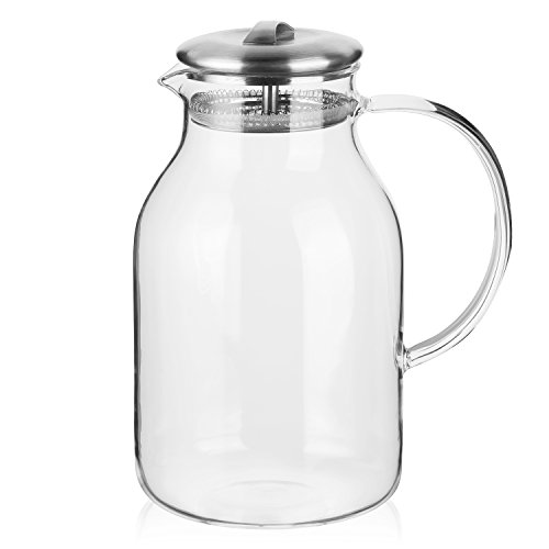 Hiware 68 Ounces Glass Pitcher with Lid and Spout - High Heat Resistance Stovetop Safe Pitcher for Hot/Cold Water & Iced Tea by Hiware (Image #1)