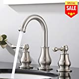 VESLA HOME Best Lead-free Solid Brass Stainless Steel Lead Free 2 Handles Three Holes Deck Mount Brushed Nickel Widespread Bathroom Faucet Without Pop Up Drain