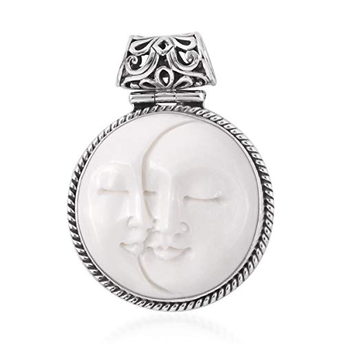Goddess Carved Bone Pendant 925 Sterling Silver Jewelry for Women