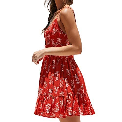 maniche con scollo senza con regolabili per a estivo cinghie Topkeal donna Mini rosso V Abito g4nWUIS