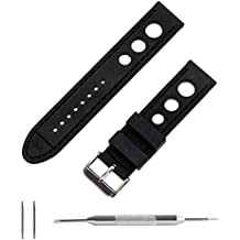 Benchmark Basics 22mm Racing/Rally Black Silicone Rubber Watch Band + Spring Bar Removal Tool