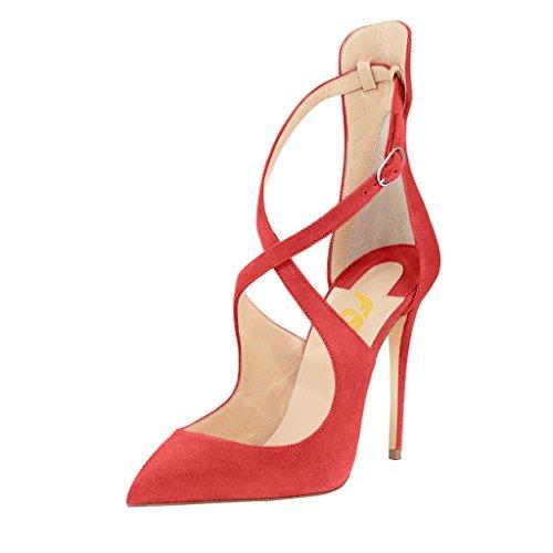 Fsj Femmes De Mode À Talons Hauts Pompes Bout Pointu Sandales Stiletto Croix Sangles Robe Chaussures Taille 4-15 Us Rouge
