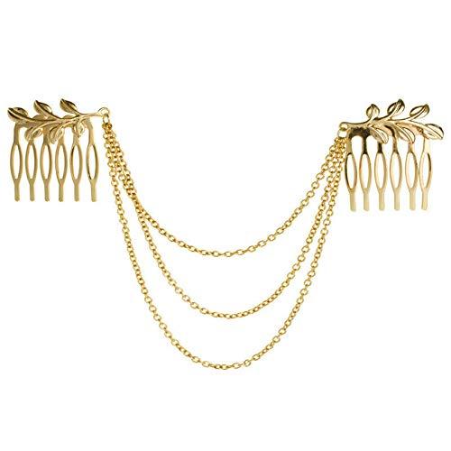 Trendy Girl Metal Tassel Hair Accessories Clip Hair Comb Bridal Leaf Headwear (ColorпјЊshape - Leaf) ()