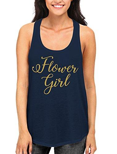 Flower Girl Gold Glitter Women's Racerback Tank Top, SpiritForged Apparel, Navy - Flower Tank