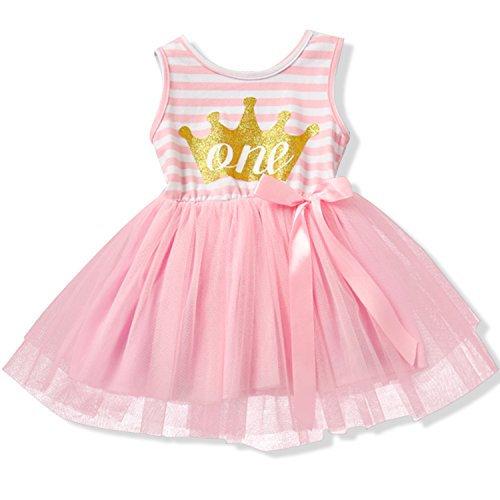 NNJXD Girl Shinny Stripe Baby Girl Sleeveless Printed Tutu Dress Gold&Pink 10-12 Months (Outfits With Dresses)