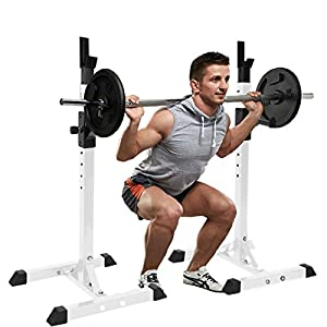 AT-X Adjustable Height Squat Rack Barbell Free Bench Press Portable Dumbbell Rack, for Standard and Olympic [Just a Rack], Made of Heavy-Duty Steel Tube Frame Maximum Load 441 lbs, Ship from US