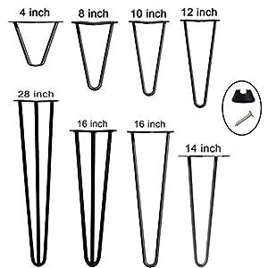 "16"" Hairpin Table Legs Black..."