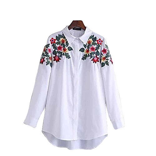 ZG&DD Shoulder Floral Embroidered Long Sleeve Shirt Blouse White Women Top Casual White Large