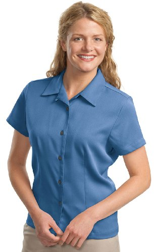 Port Authority Ladies Easy Care Camp Shirt, Blue, X-Large (Shirt Care Easy Camp Authority)