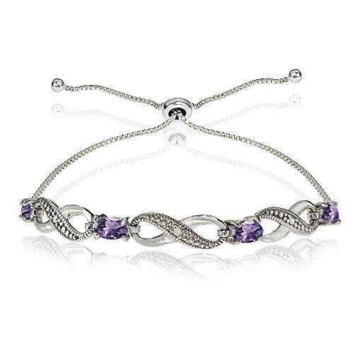 (GemStar USA Sterling Silver Amethyst Figure 8 Infinity Adjustable Bolo Bracelet)