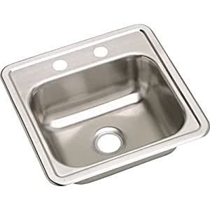 Elkay D115151 Dayton 15-Inch by 15-Inch Stainless Steel Single-Hole Bar Sink, Satin Finish
