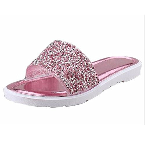 Casual Beach On Sandals Flat Slippers Bling Women Size Rose Summer Shoes Women Slip Slides Solid 40 YFF Glitter Plus zqvg6xwn