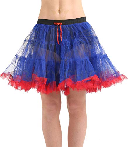(My Choice Stuff Womens Fancy Dance Party 2 Layer Blue & Red Tu Tu Skirt Ladies Party Wear Bottom One)
