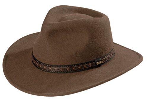 Dorfman Pacific Scala Men s Crushable Wool Outback Hat Khaki - Medium 810994075e9