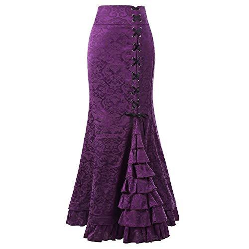 Women Skirt Punk Vintage Gothic Ruffled Steampunk High Waist Maxi Mermaid Style (XXL, Purple)
