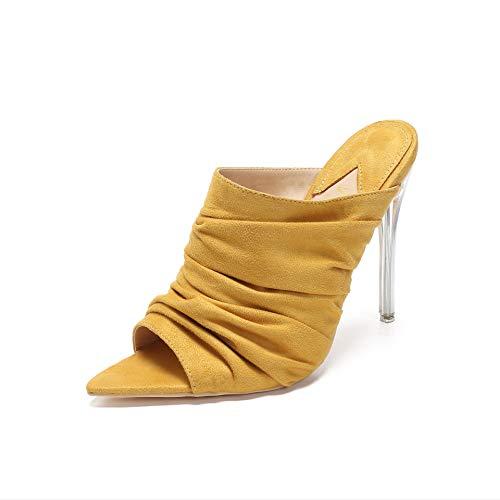 (MACKIN J 294-22 Women's Open Toe High Heel Sandals Mule Clear Stiletto Sandals Yellow 7)