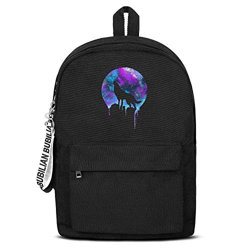 Space Howl Wolf the Sirius Starry Sky Unisex Canvas Backpack Custom Satchel Waterproof Backpack for Girls Boys