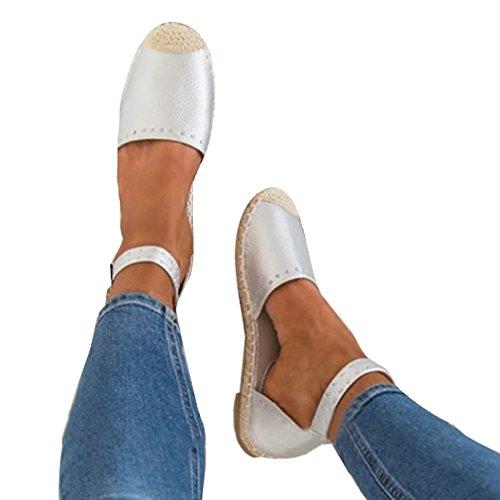 Sandalias Mujer Confort Punta Redonda Guita De Cáñamo Tobillo Sandalias Rhinestones Zapatos Planos Playa Zapatos de Verano Sandalias Blanco Negro Oro Plata Plateado