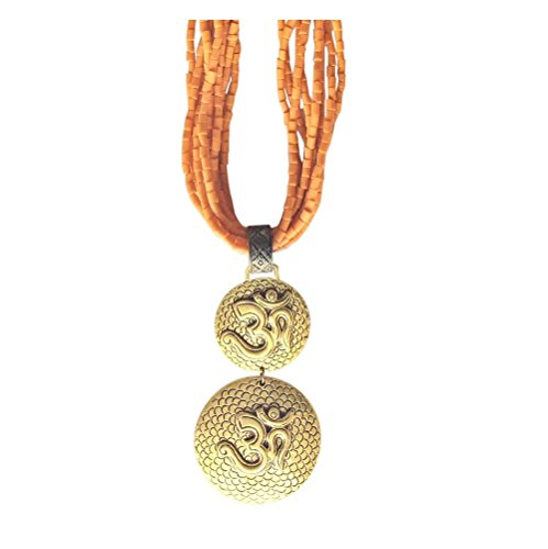 'Om Namah Shivaye' Statement Necklace Artisan Crafted In Silver And Gold Plated Brass Ethically Sourced From India - Vintage Handmade Hindu Indian Jewellery in Retail Gift Box (Orange) by BellaMira