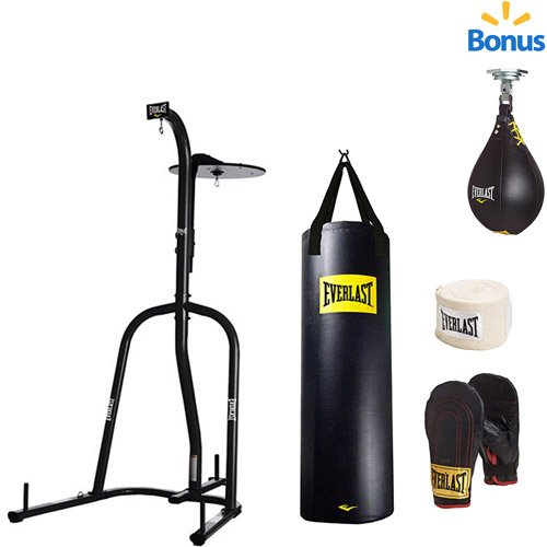 Heavy Bag And Speed Bag Stand (Everlast Dual Station Heavy Bag Stand, 100-lb, Speedbag, Value Bundle)