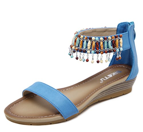 Sandals D2C Ankle Beauty Summer Women's Wedge Bohemian Blue FYqFxwrv