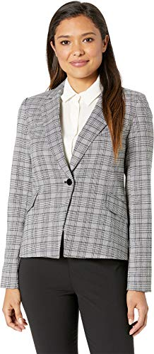 (Calvin Klein Women's Woven Button Front Jacket Black/Cream 12)