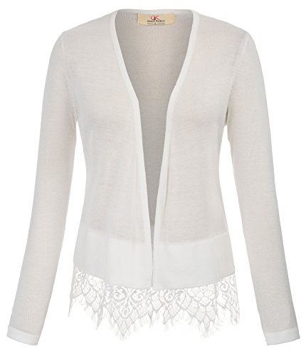 GRACE KARIN Fashion Full Sleeve Bolero Jacket Shrug for Teen Girls (L, Ivory 794) by GRACE KARIN