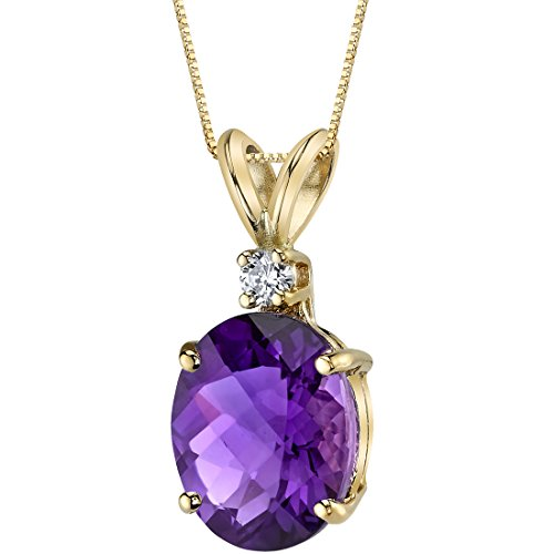 - 14 Karat Yellow Gold Oval Shape 2.00 Carats Amethyst Diamond Pendant