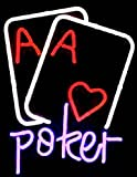 Poker Game Room Neon Sign 17''x14''Inches Bright Neon Light for Store Beer Bar Pub Garage Room