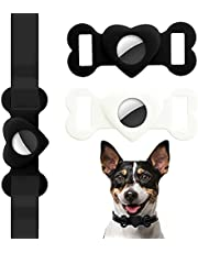 AirTag Holder Tracking for Dog Collar, 2 Pack Waterproof Protective Case for Air Tags 2021,AirTag Pet Tracker Accessories Black&White