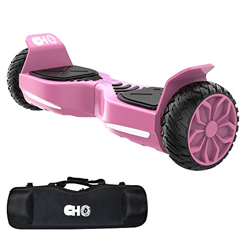 CHO TM All Terrain Rugged 6.5 Inch Wheels Hoverboard Off-Road Smart Self Balancing Electric Scooter With built-In Speaker LED Lights UL2272 Certified (Pink)