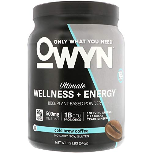 OWYN Only What You Need 100% Vegan Plant-Based Protein Powder, Cold Brew Coffee, Dairy Free, Gluten Free, Soy Free, Allergy Friendly, Vegetarian, 1.1 Pound Tub, 1 Count